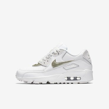Buty juniorskie Nike Air Max 90 Leather Summit White/Metallic Gold 833376 103