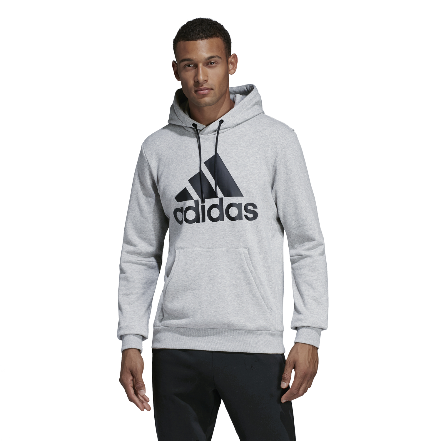 BLUZA MĘSKA ADIDAS MUST HAVES BADGE OF SPORT PULLOVER HOODIE FRENCH TERRY SZARA DT9947